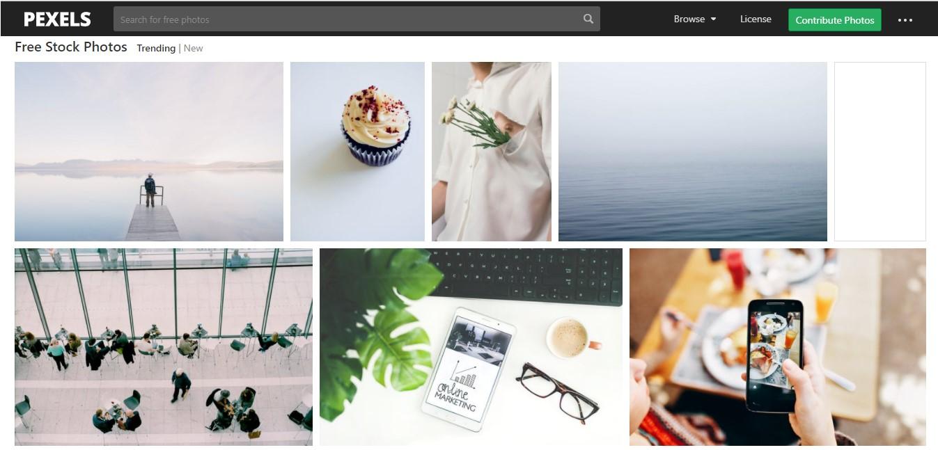 Página web de Pexels.com