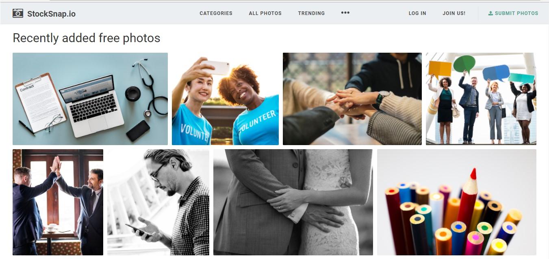 Página web de Stock Snap Io.