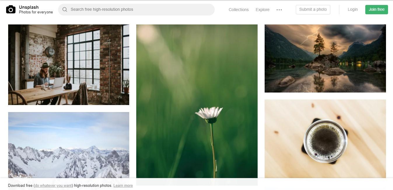 Página web de Unsplash.