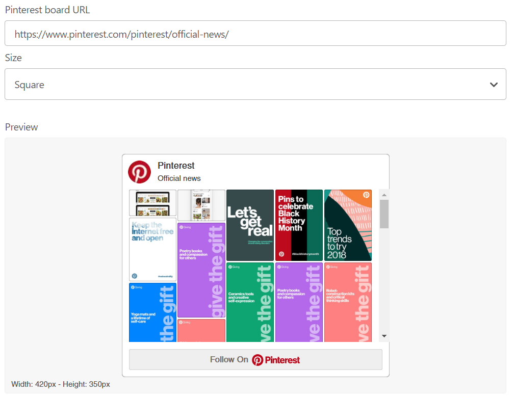 Pinterest's widget builder makes it easy to integrate Pinterest on your website