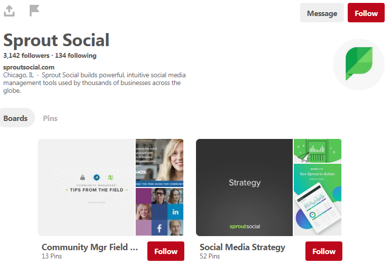 The Sprout Social Pinterest home page