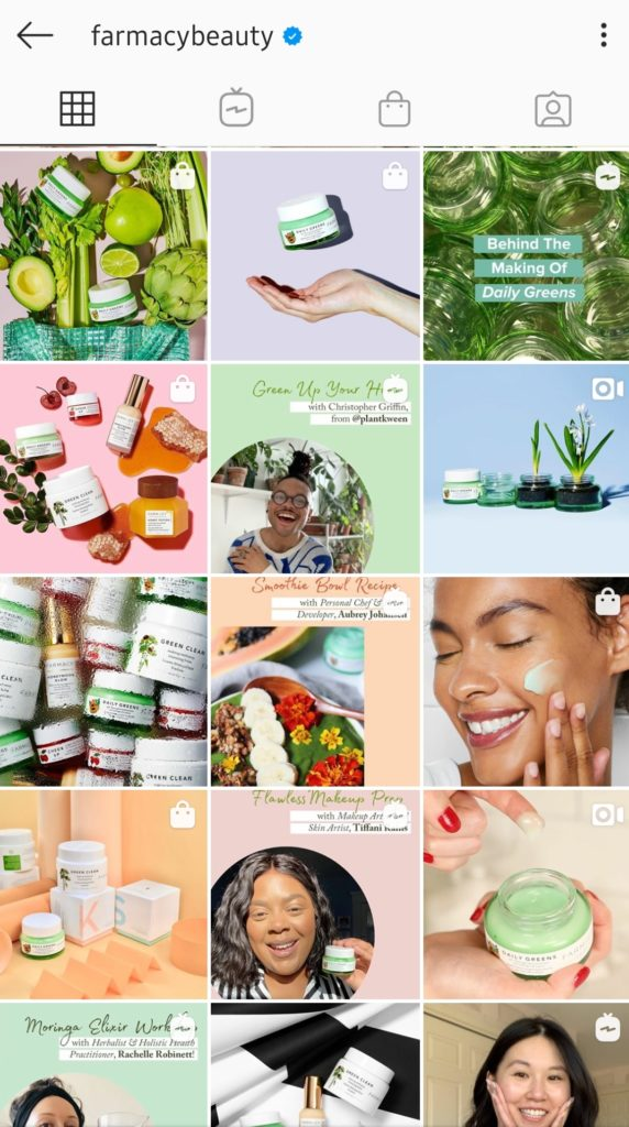 farmacy color palette in IG grid