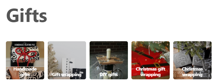 "The ""Gifts"" section on Pinterest"