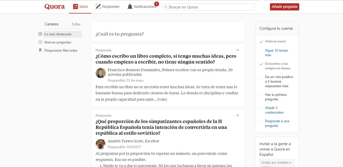 Página inicial de Quora.