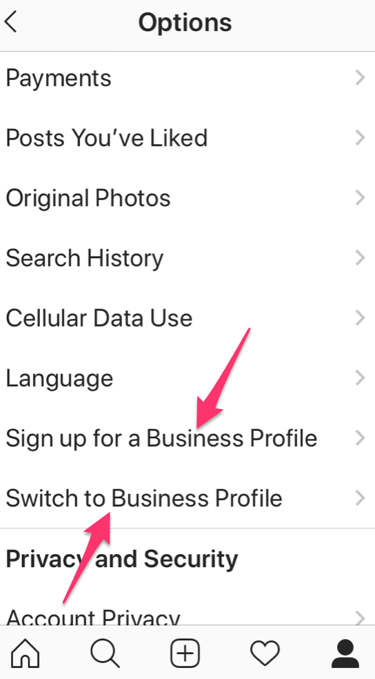 switch to business profile Instagram
