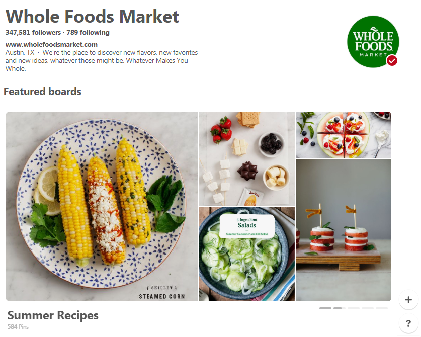 Whole Foods Market Pinterest home page