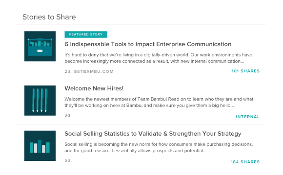 Bambu streamlines the process of sharing content between team members and employees