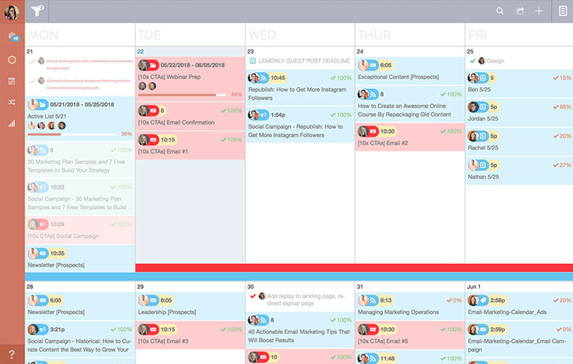 With the help of a content marketing calendar, teams have a better pulse on their social content strategies.
