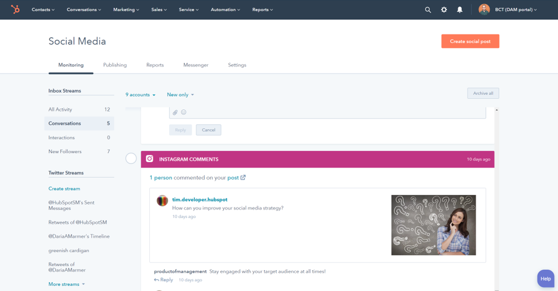Hubspot highlights interactions between social followers, including leads collected via your CRM.