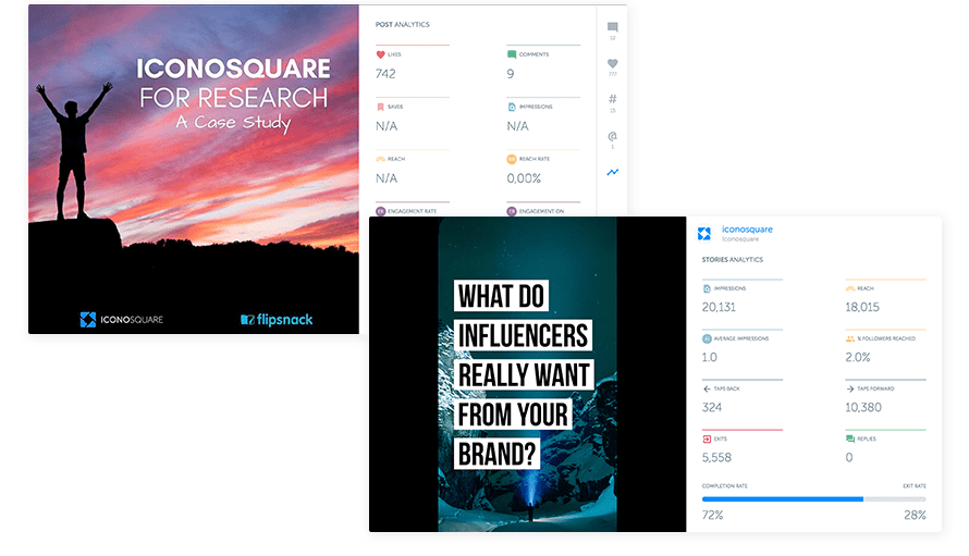 Iconosquare's features include analytics for Instagram stories.