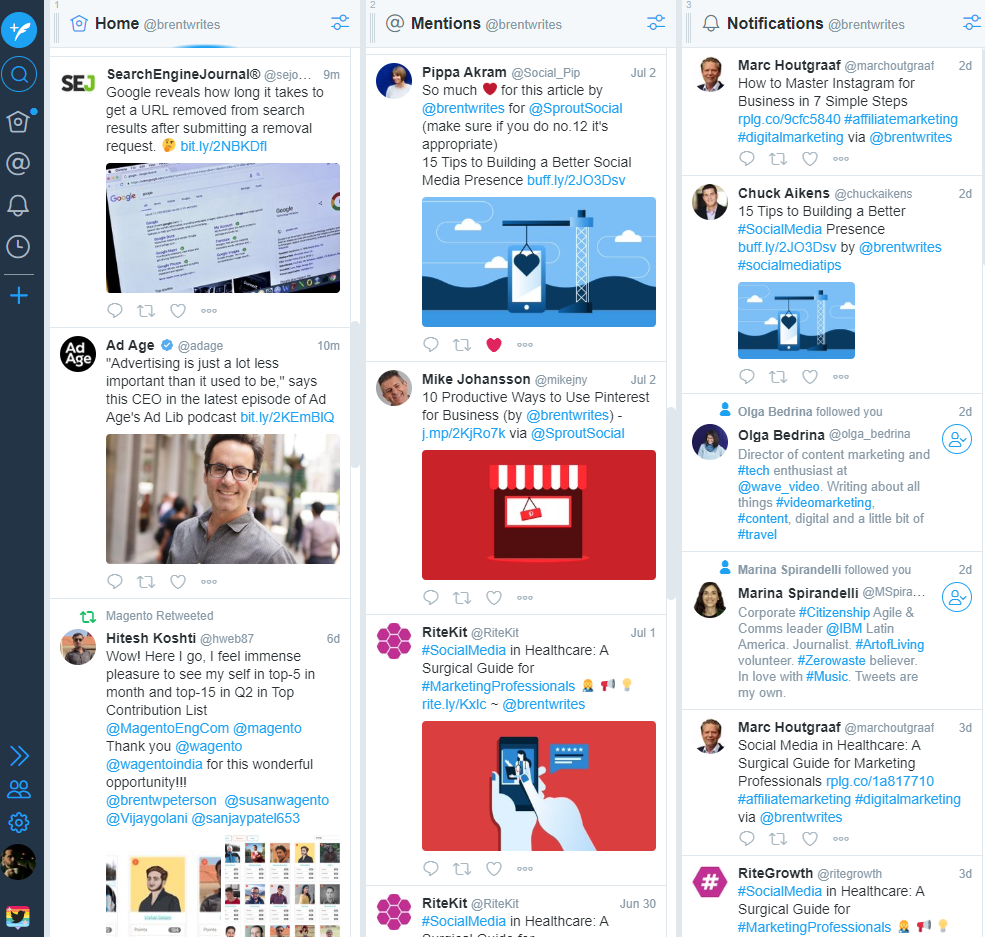 Tweetdeck provides a real-time overview of your Twitter activity in one place