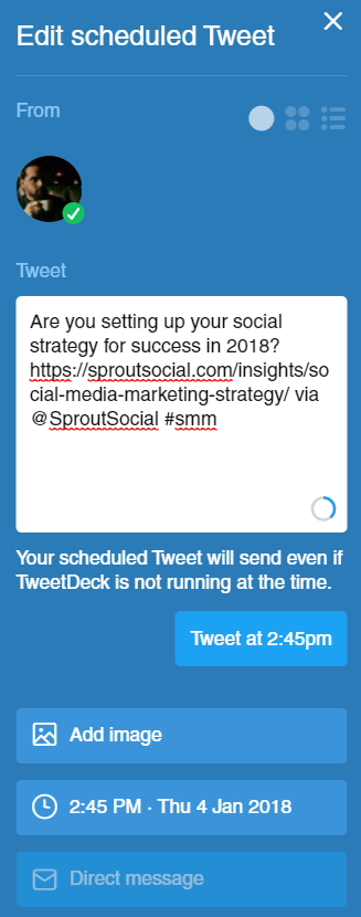 Tweetdeck allows for minimalist, easy-to-use social scheduling