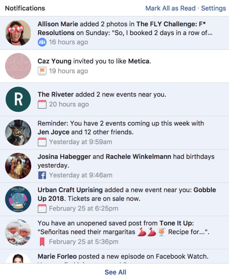 facebook notifications example