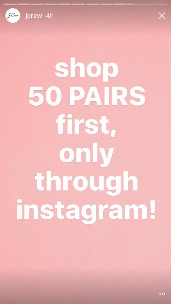 J Crew Instagram Story