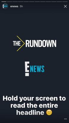 E News instagram story