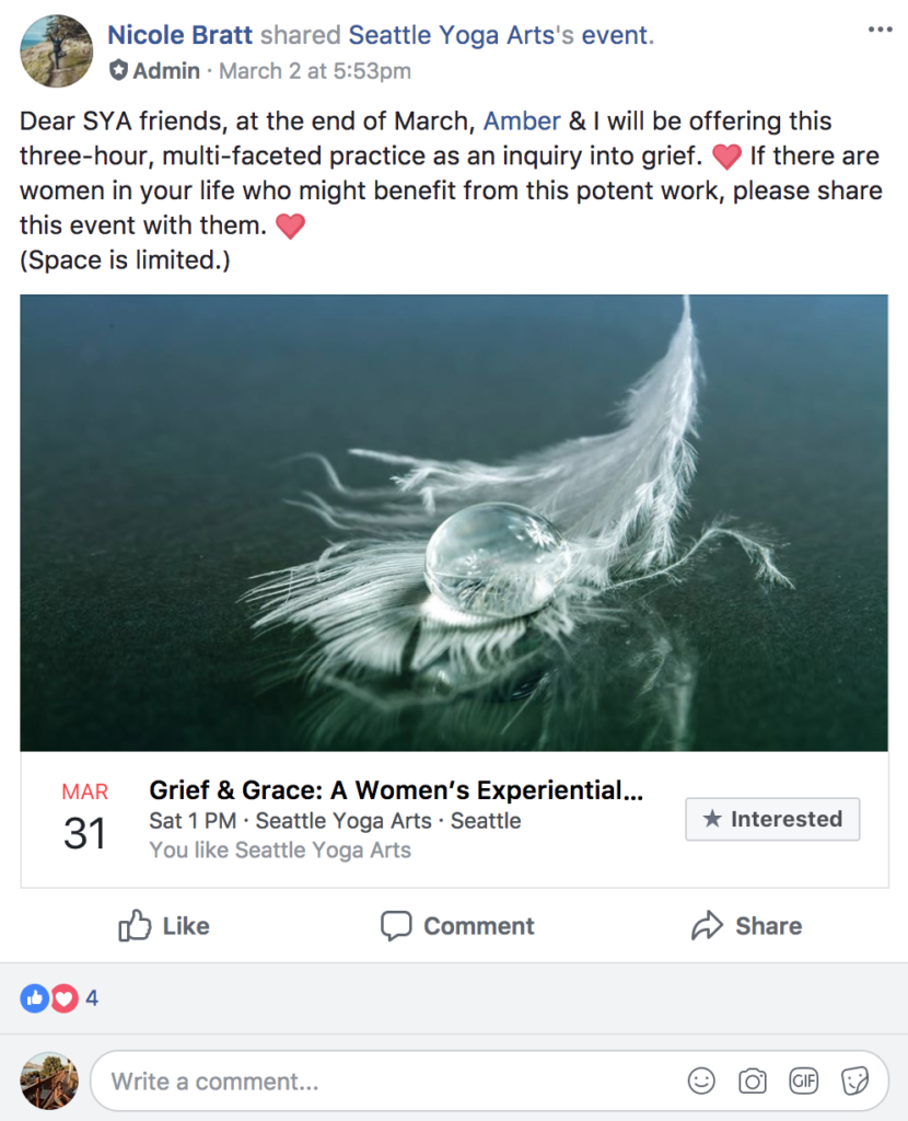 facebook groups event post example