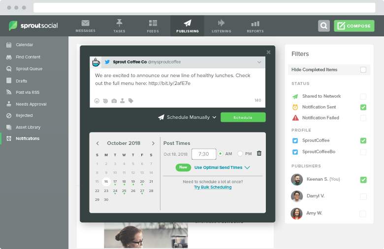 Sprout Compose view allows you to schedule posts