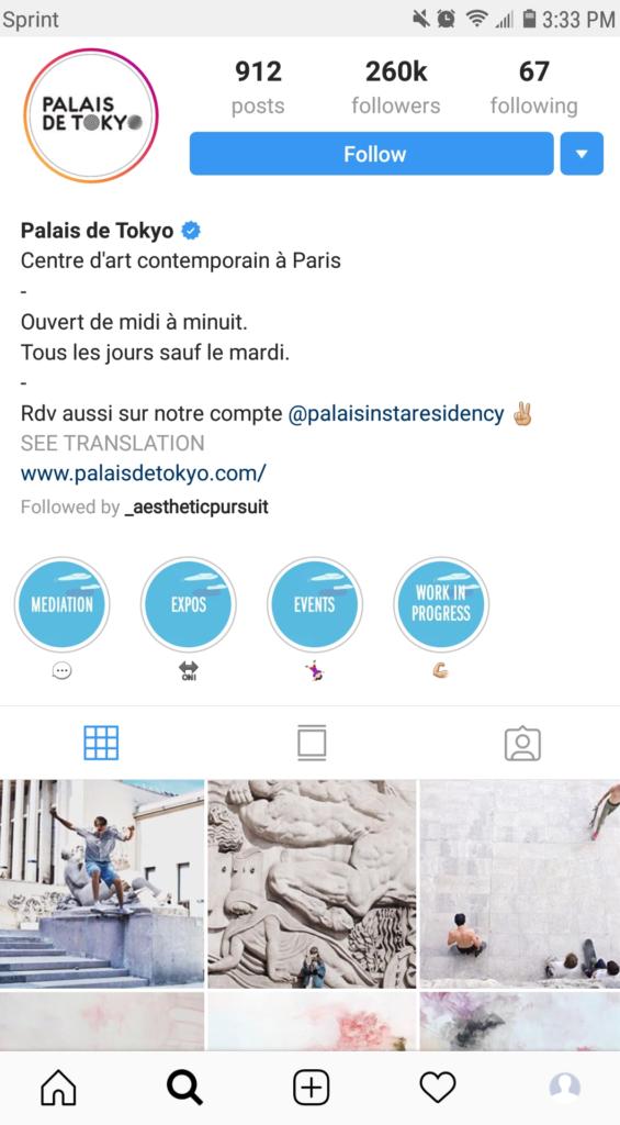 Palais de Tokyo Instagram Page