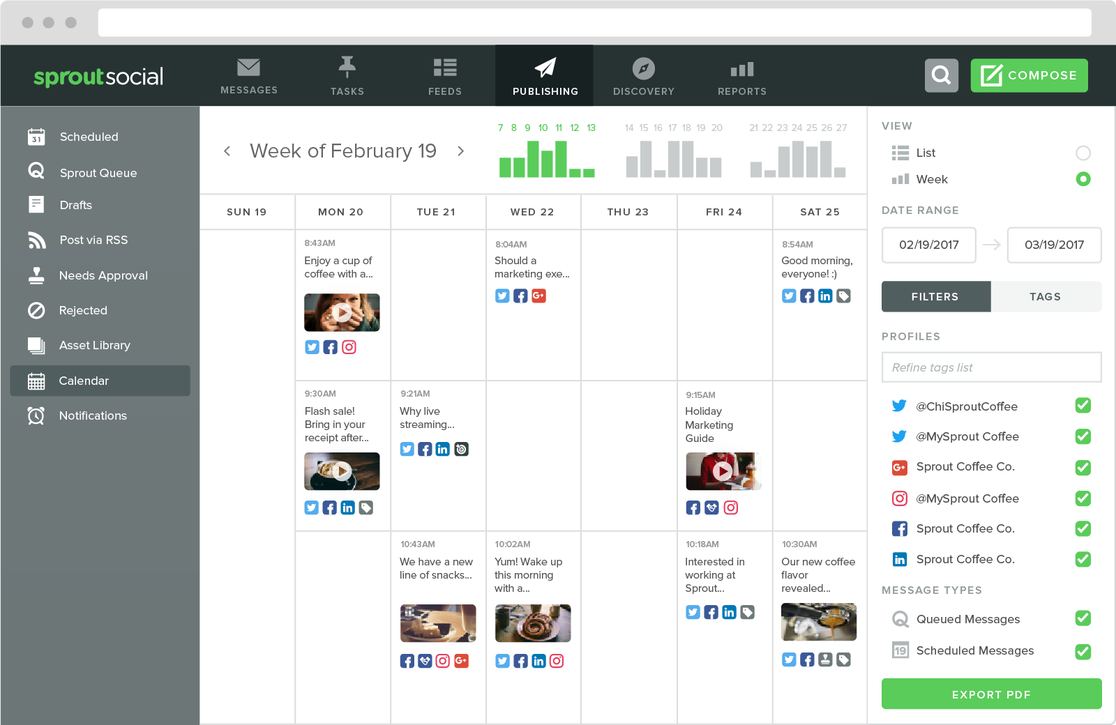 Social publishing tools like Sprout make it easier to push out content consistently