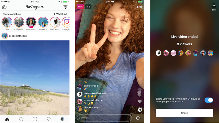Selection of example images taken from Instagram Live