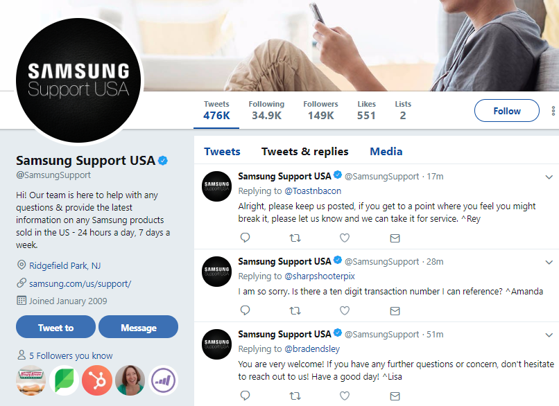 Some brands have dedicated pages for Twitter customer service