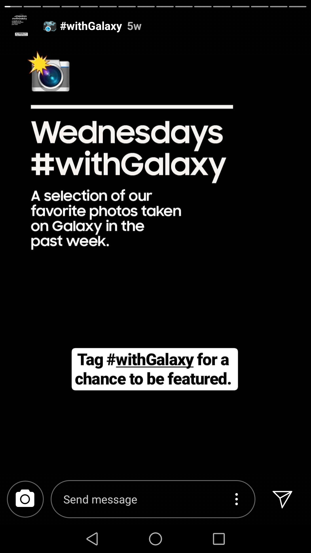 Samsung uses their Stories hashtag to encourage customer photos