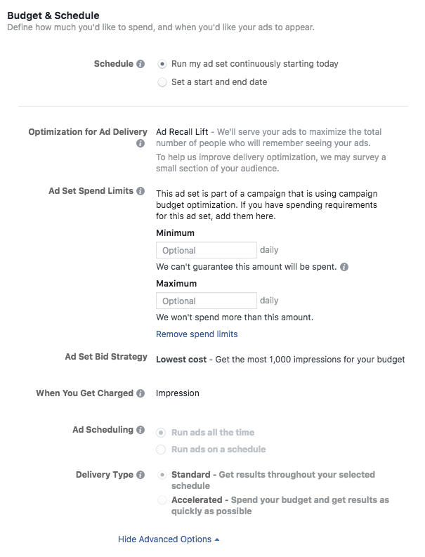 FB ad budget