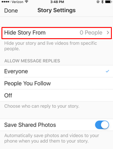 "Screenshot of the ""Hide Story"" option on Instagram Live settings"