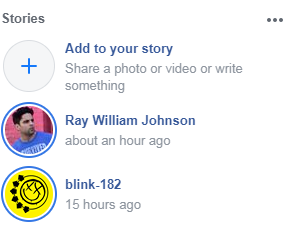"An example of the Facebook ""Stories Row"" feature"