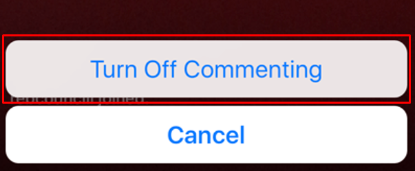 Picture of the Instagram button to turn off commenting