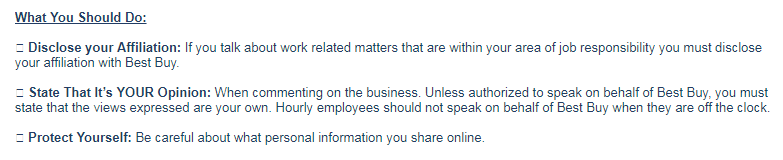 Best Buy Social Media Policy Snippet