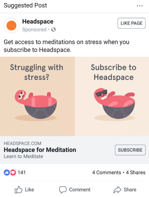 Brands like Headspace run a paid & organic social media strategy that stays on-point with their brand