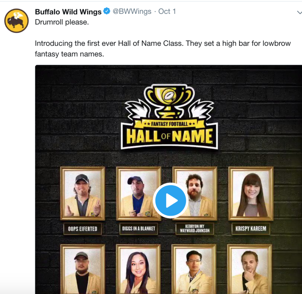 buffalo wild wings hall of name twitter post