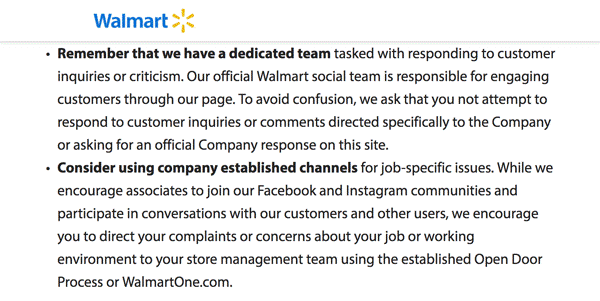 Screenshot of the Walmart Social Media Policy