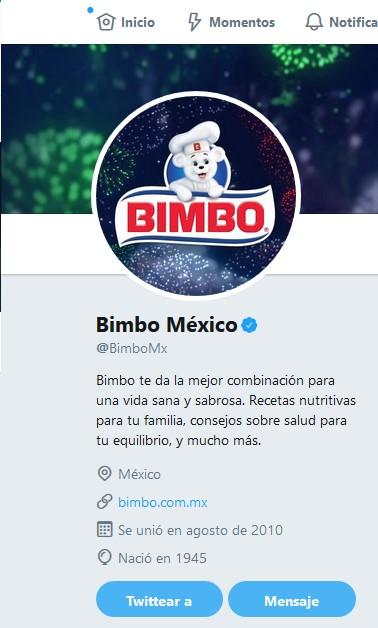 Perfil de la marca Bimbo.