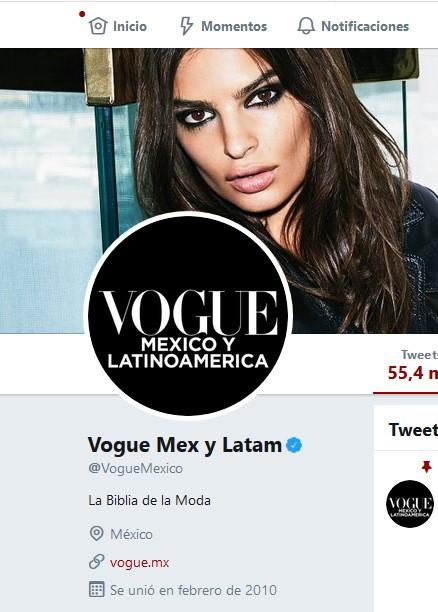 Perfil de Vogue México en Twitter