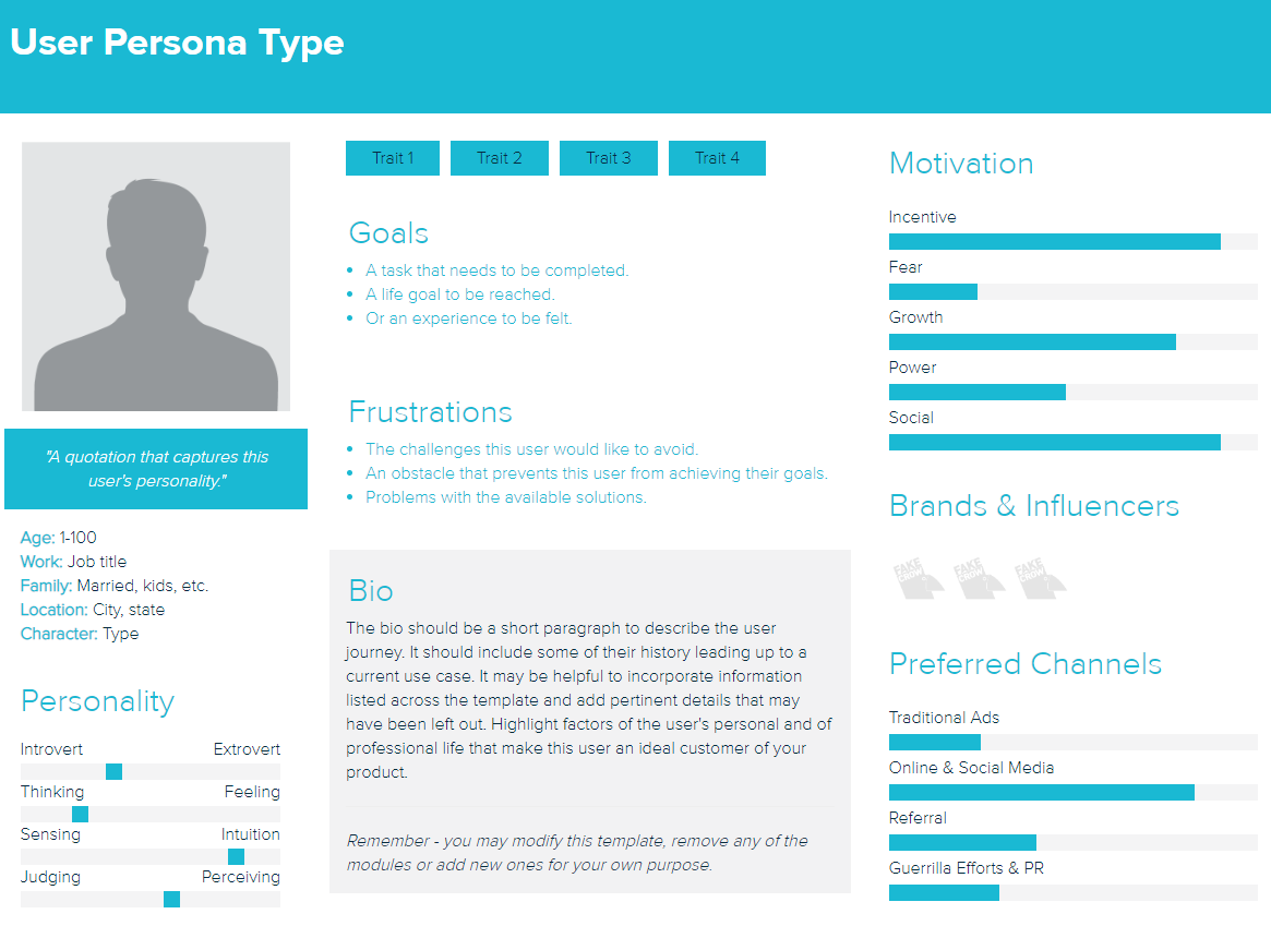 A template can be a useful tool for fleshing out your social media personas