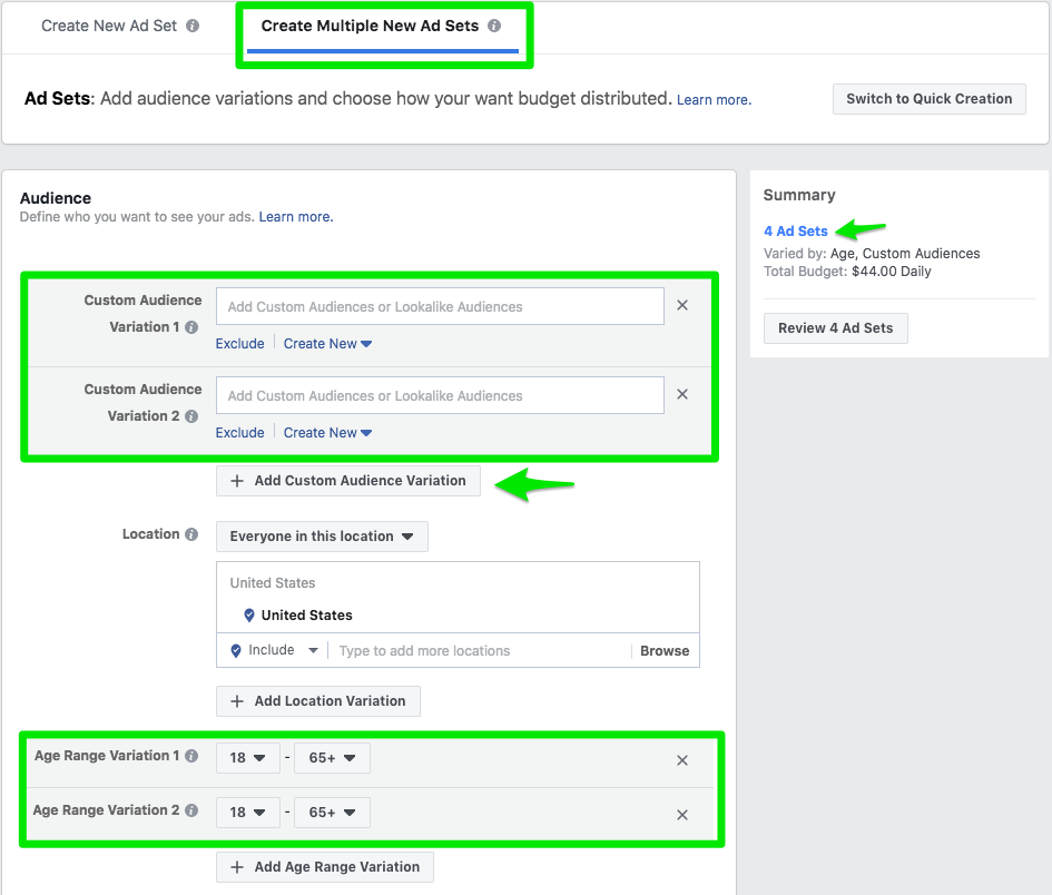 Facebook's ad targeting allows you to deliver ads to multiple audiences