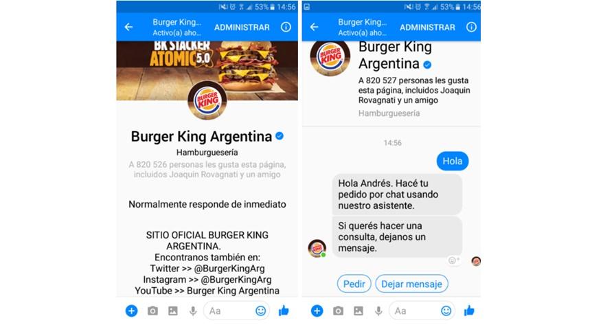 Chatbot de Burger King Argentina.
