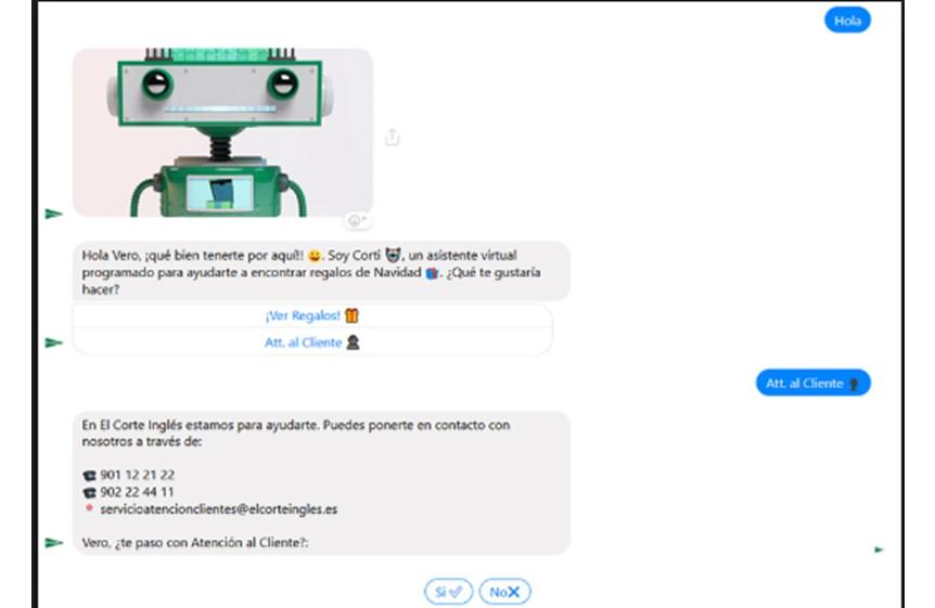 Chatbot de los almacenes El Corte Inglés.