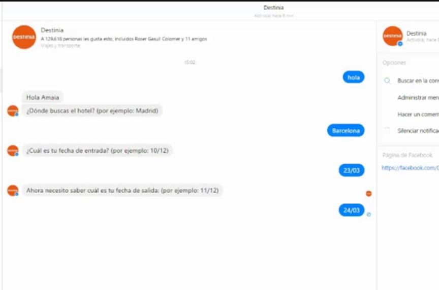 Chatbot de Destinia