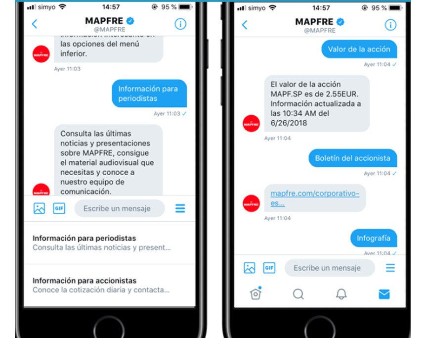 Chatbot en Twitter de Mapfre.