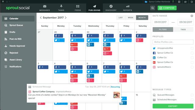 calendario dei contenuti sprout