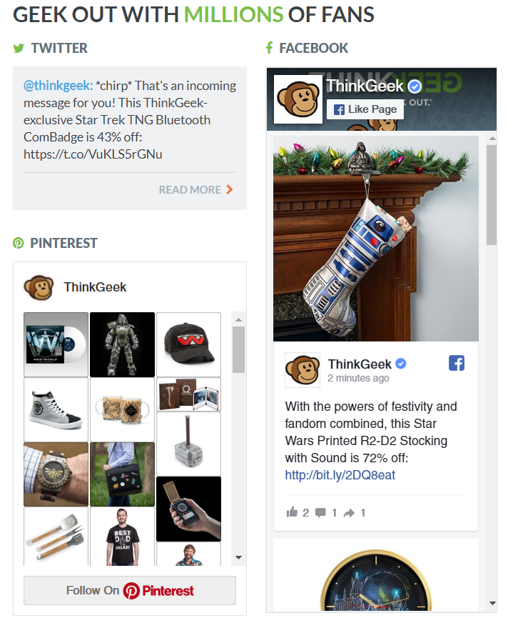 ThinkGeek's embedded social feeds are another smart example of how to funnel site traffic to social media