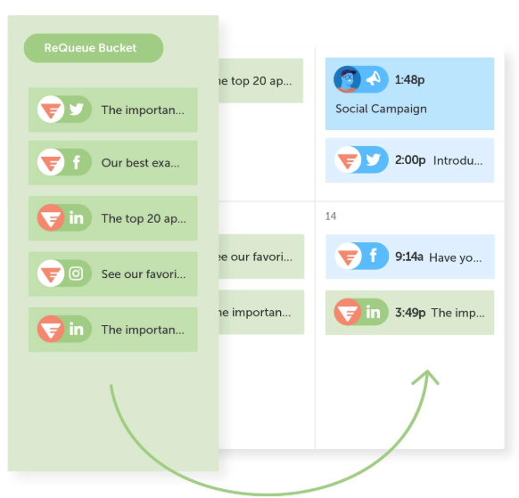 Coschedule's requeue feature allows brands recycle their best content intended for social