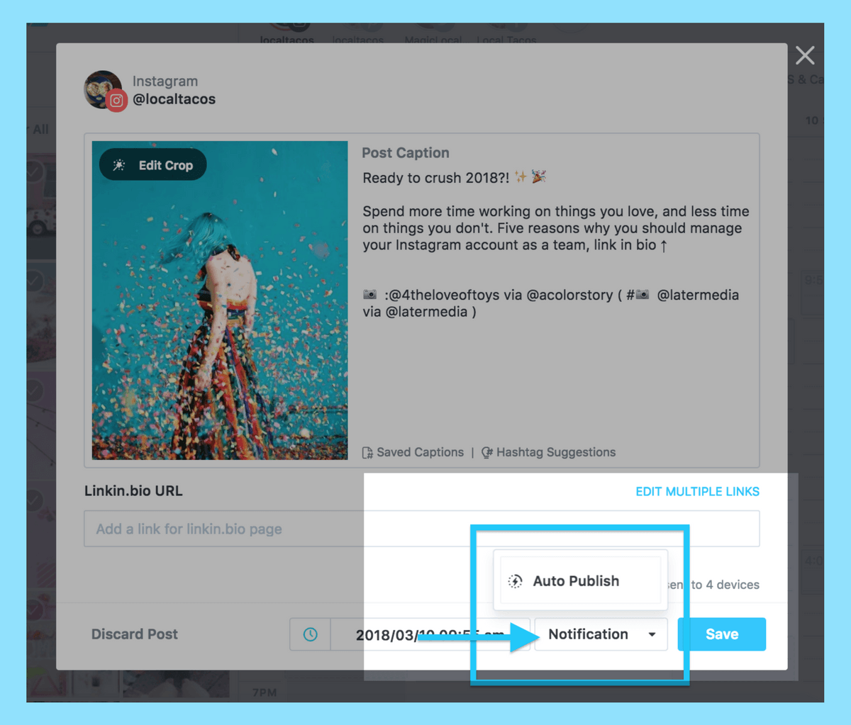 Autopublishing in Later allows users to publish single photos directly to Instagram