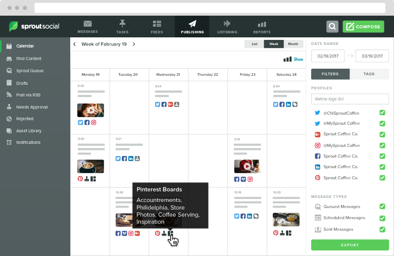 Unlike other social networking scheduling tools, Sprout can post across multiple platforms (including Pinterest)