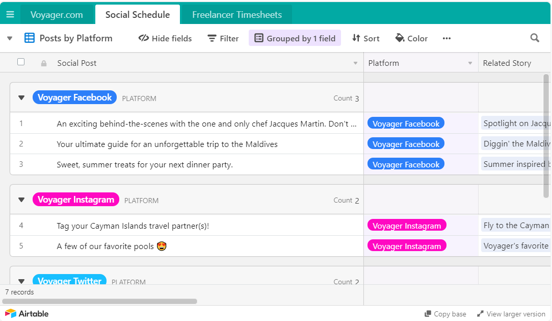 Airtable provides a simple see of your social schedule