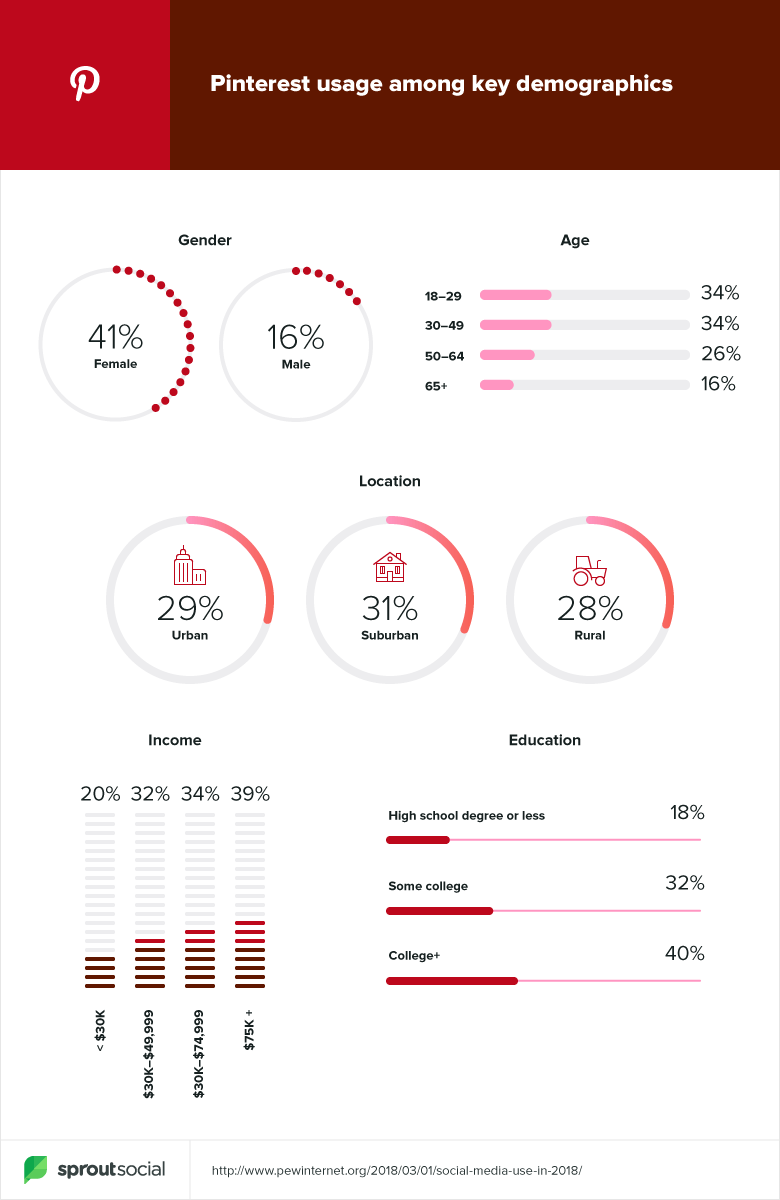 Pinterest's user demographics.