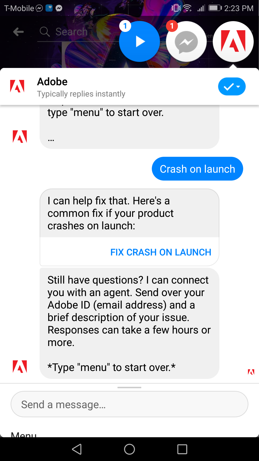Adobe's bot is helpful for troubleshooting